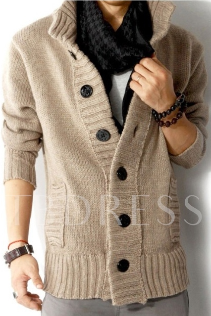 Stand Collar Single-Breasted Man's Long Sleeve Cardigan