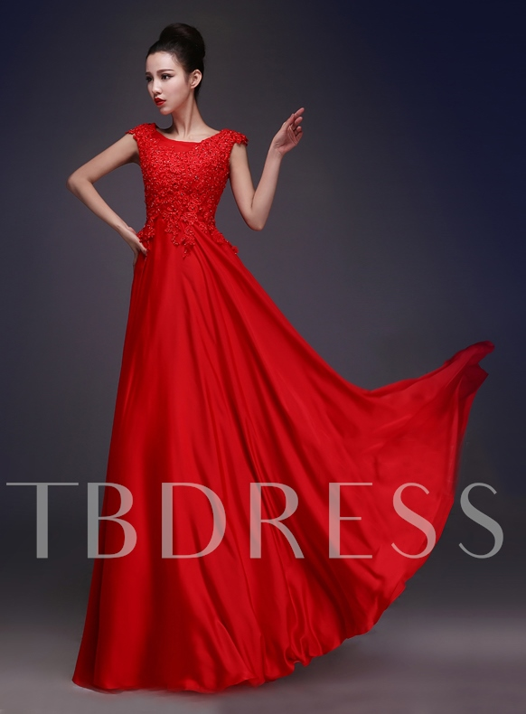 Cap Sleeves Lace Beading Red Evening Dress