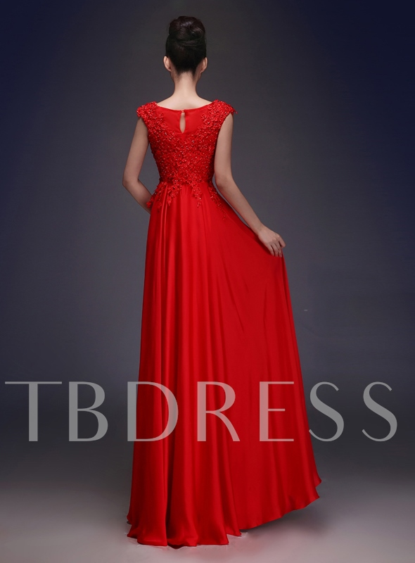 Scoop Lace Beading A-Line Long Evening Dress