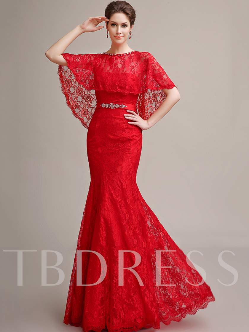 Beading Belt Mermaid Lace Evening Dress with Cape