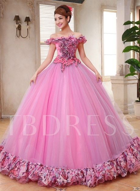 Ruffles Off-the-Shoulder Flowers Ball Gown Floor-Length Quinceanera Dress