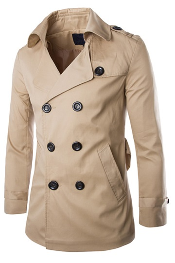 Lapel Double-Breasted Long Sleeve Men's Overcoat