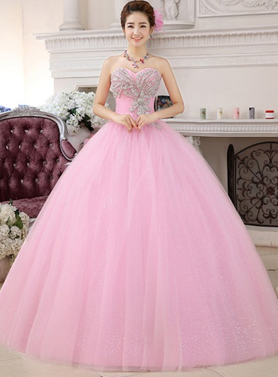 Sweetheart Ball Gown Rhinestone Beaded Quinceanera Dress