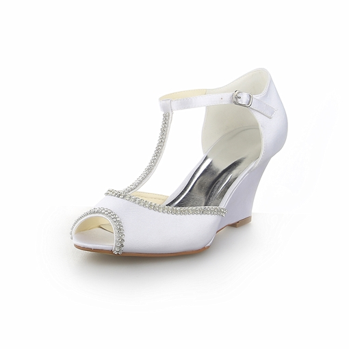 Satin Beaded Wedge Bridal Sandal