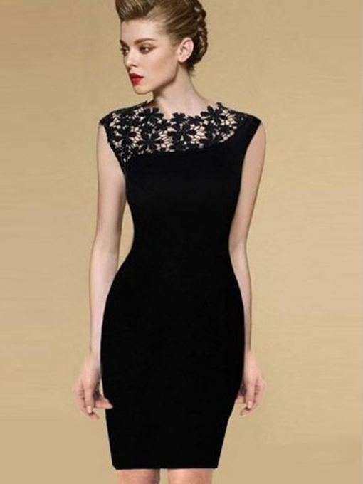 Lace Sheath Jewel Neck Short Cocktail Dress