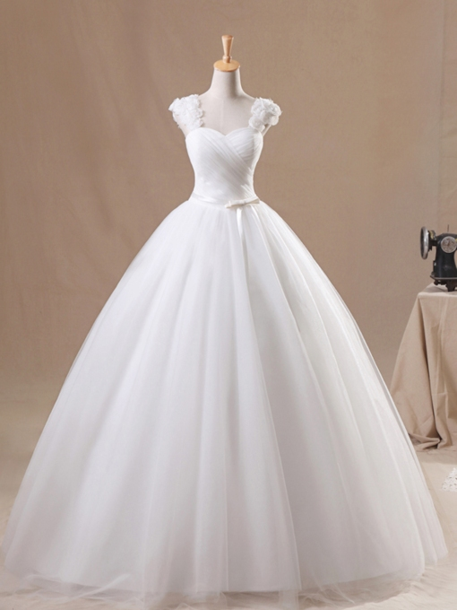 Bowknot Straps Pleats Ball Gown Wedding Dress 2019