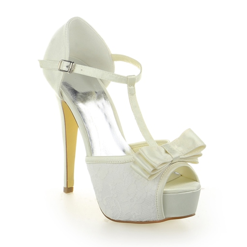 Bowknot Satin Lace Stiletto Wedding Shoes