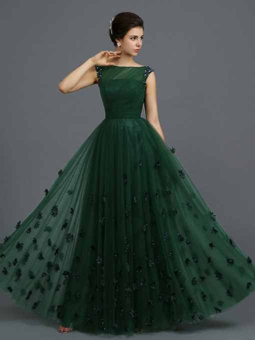 Straps Beading 3D Floral Dark Green Evening Dress