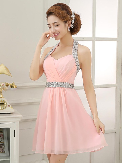 Halter A-Line Ruched Rhinestone Mini Homecoming Dress