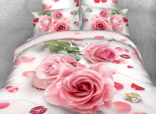 Pink Rose and Red Lips Printed Cotton 4-Piece 3D Bedding Sets/Duvet Cover