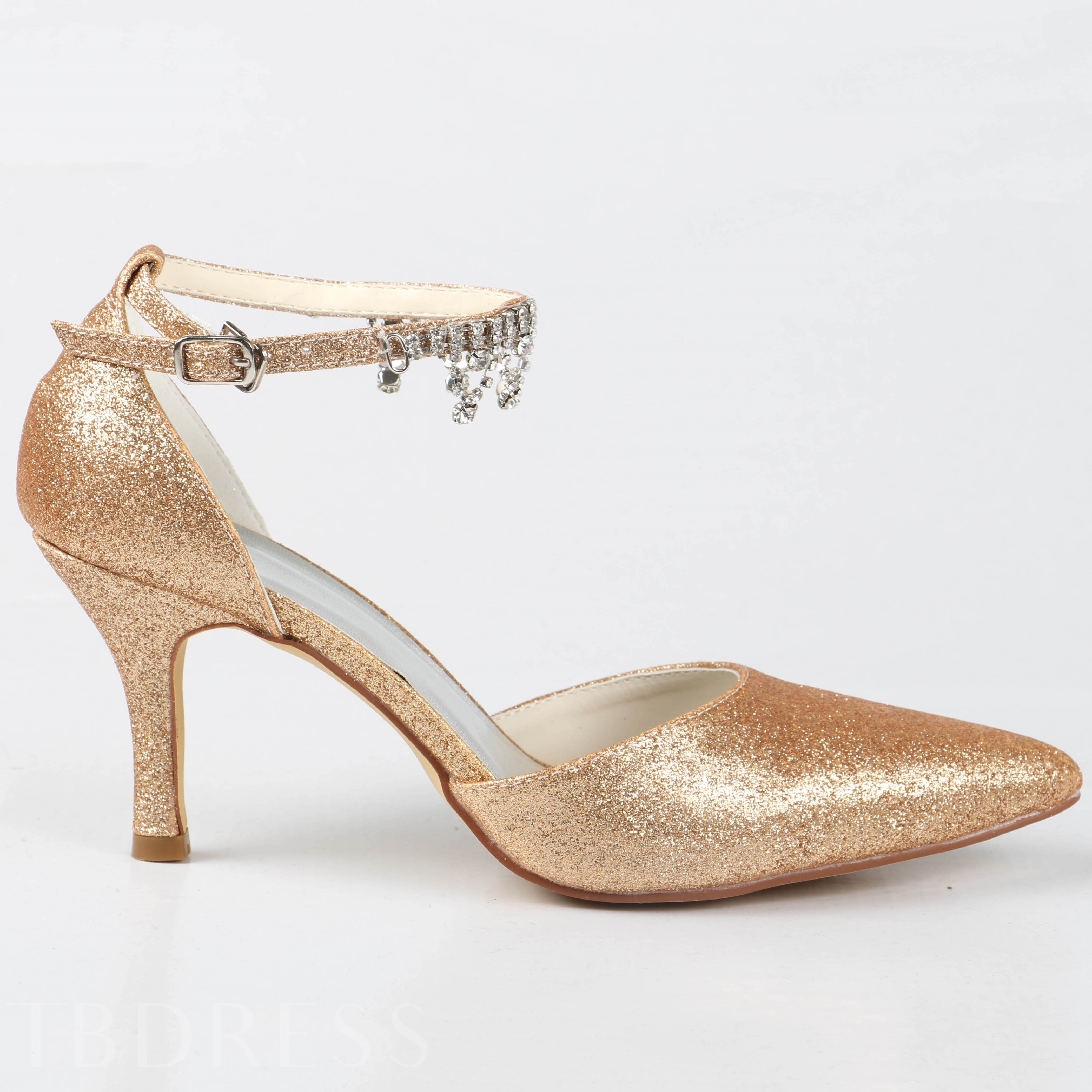 Golden PU Stiletto Bridal Shoes