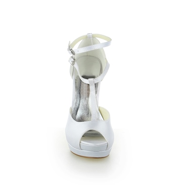Satin Peep-Toe High Heel Wedding Shoes