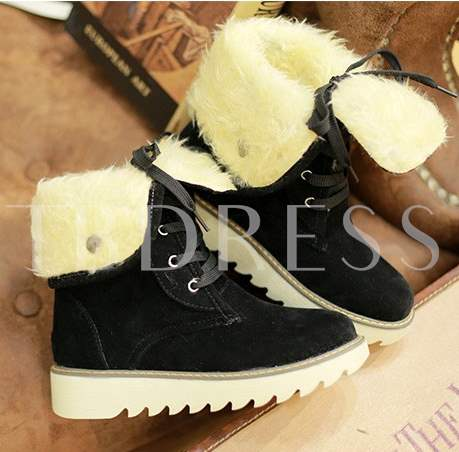 Suede Lace-Up Women's Short Boots