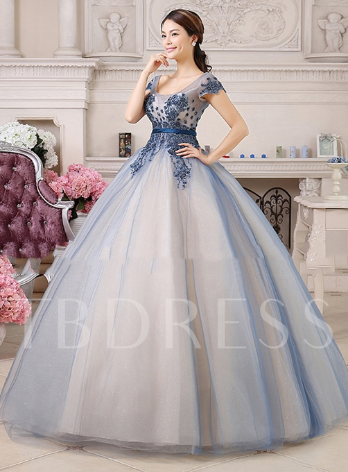 A-line Square Neck Appliques Floor-Length Quinceanera Dress