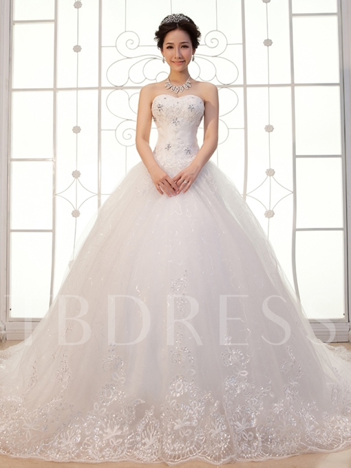 Sequined Appliques Ball Gown Wedding Dress with Train