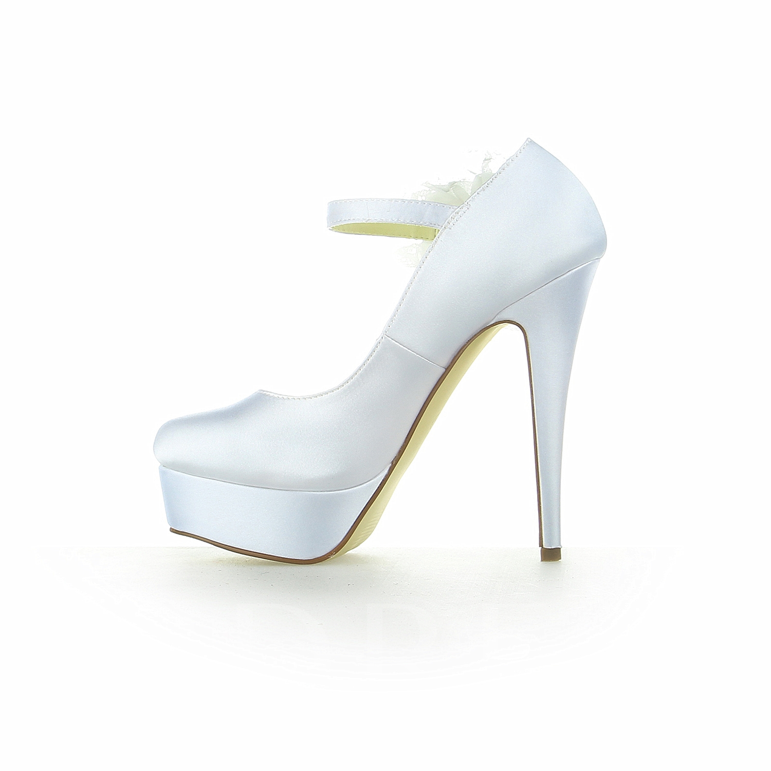 Flower Satin Platform High Heel Bridal Shoes