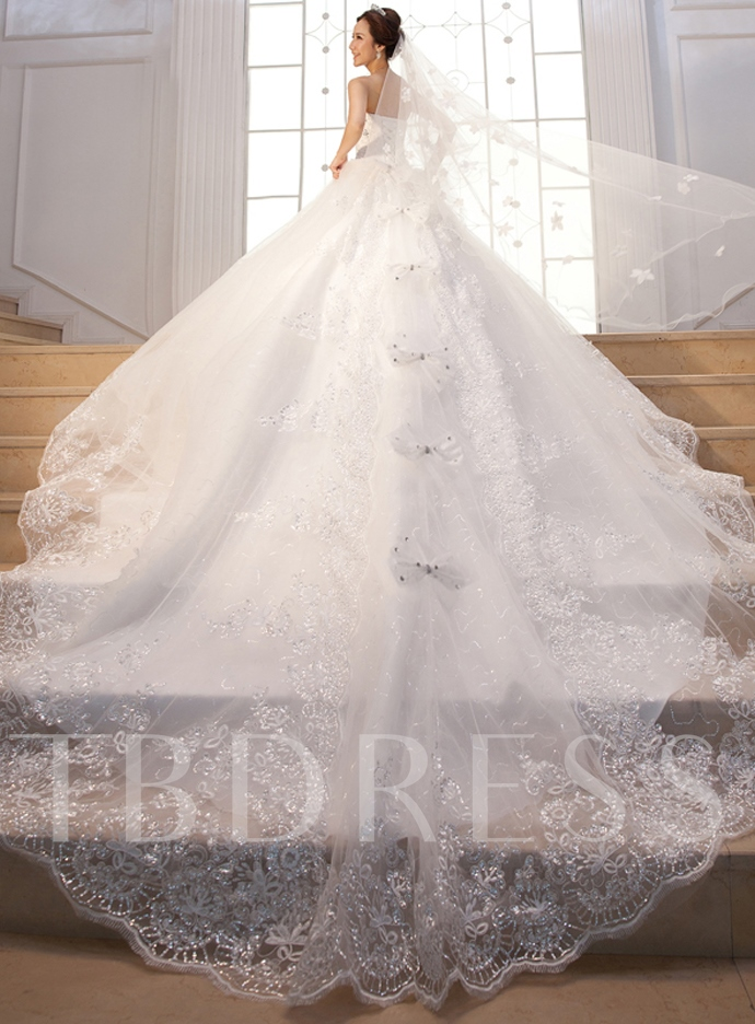Sequined Appliques Bowknot Ball Gown Wedding Dress