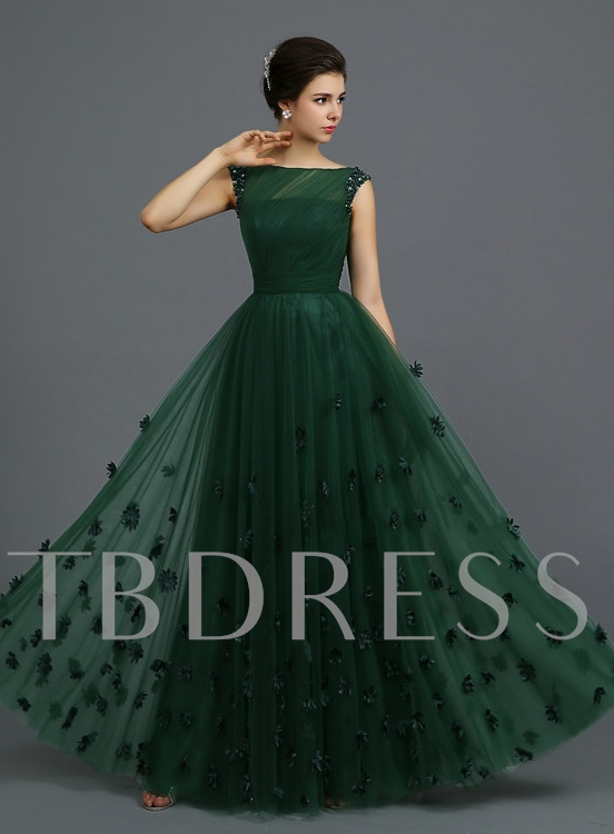 Off-the-Shoulder A-Line Floor-Length Evening Dress - Tbdress.com