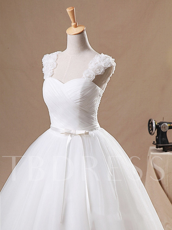 Bowknot Pleats Lace-Up Ball Gown Wedding Dress 2019