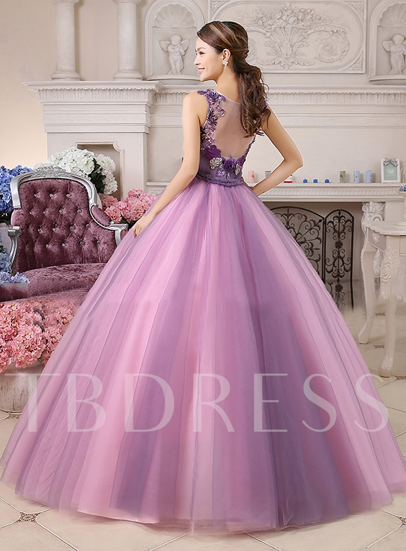 A-line V-Neck Flowers Floor-Length Quinceanera Dress