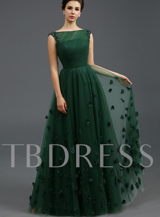 Off-the-Shoulder A-Line Floor-Length Evening Dress