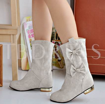 Round Toe Square Heel Bowtie Women's Ankle Boots