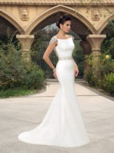 Cap Sleeves Beaded Low Back Mermaid Wedding Dress