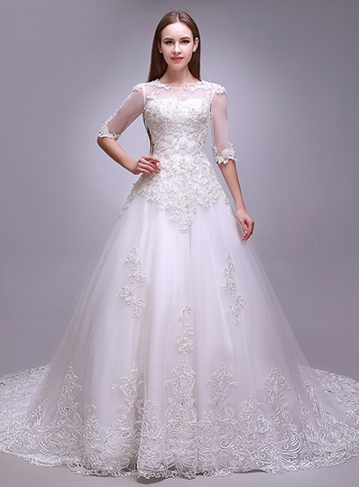 A-Line Scoop Applique Half Sleeves Lace Wedding Dress