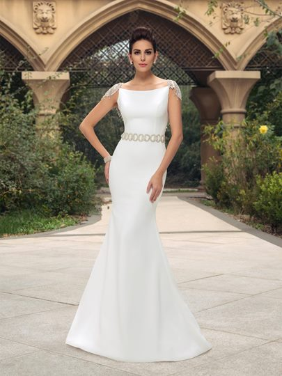mermaid cap sleeves beaded sweep train wedding dress