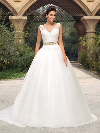 Lace V-Neck Zipper-Up Court Train Wedding Dress