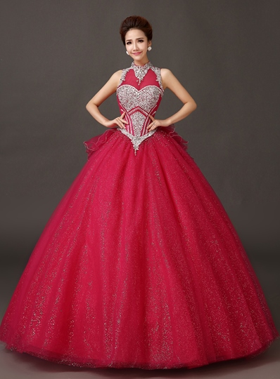 A-line High Neck Bowknot Floor-Length Quinceanera Dress