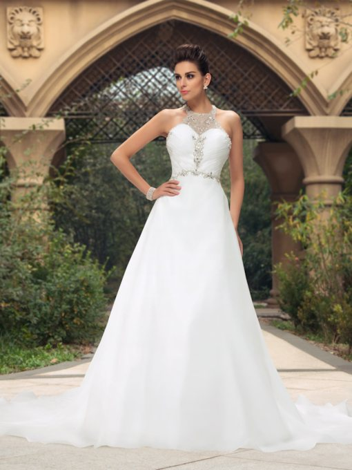 A-Line Beaded Halter Wedding Dress