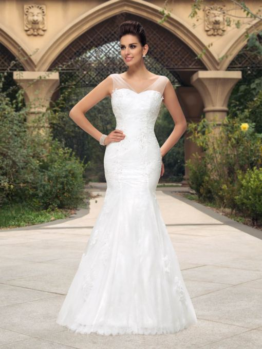 V-Neck Appliques Mermaid Wedding Dress
