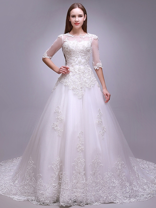 Applique Beading Half Sleeves Plus Size Wedding Dress