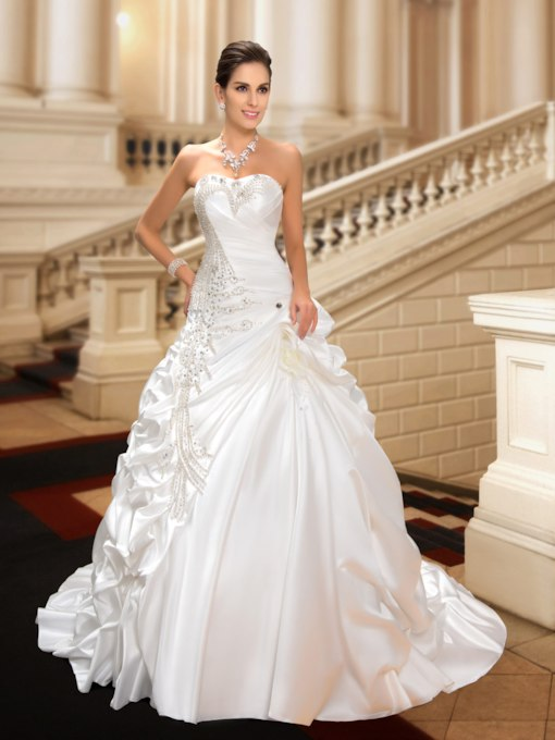 Sweetheart Beaded Pick-Ups A-Line Wedding Dress