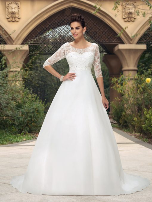 Scoop Neckline Beading Half Sleeve Wedding Dress