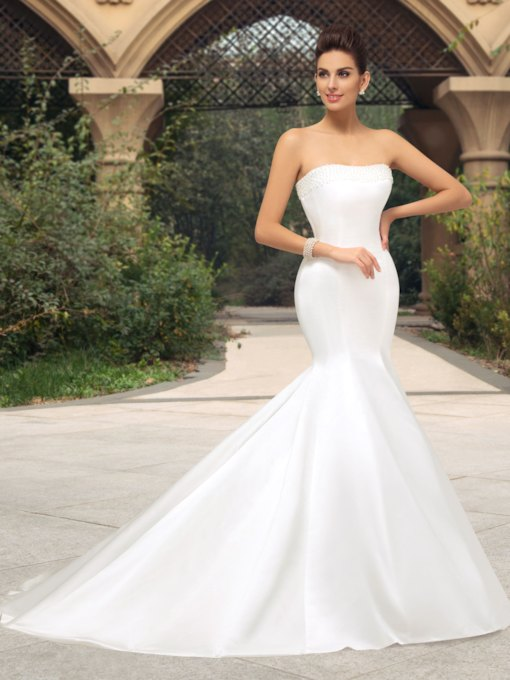 Strapless Trumpet Pearl Court Train Wedding Dress
