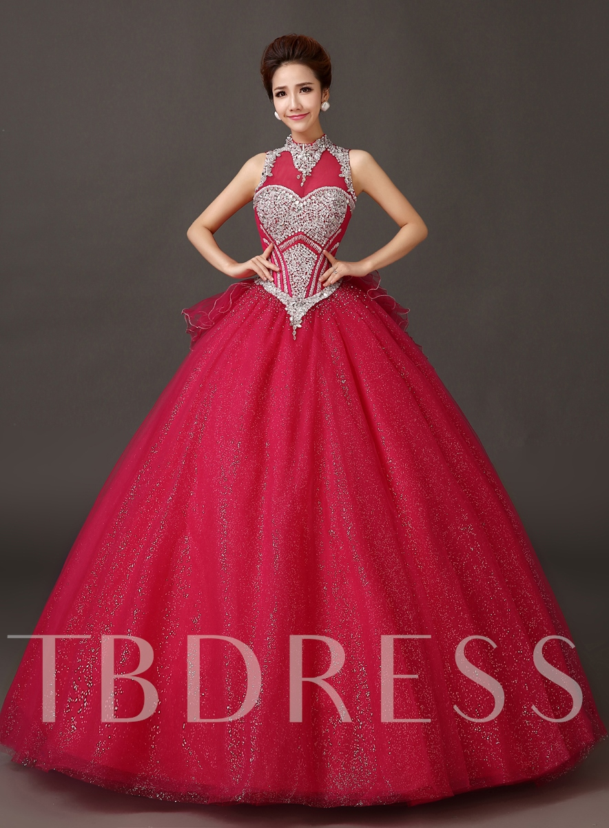Image of A-line High Neck Bowknot Floor-Length Quinceanera Dress