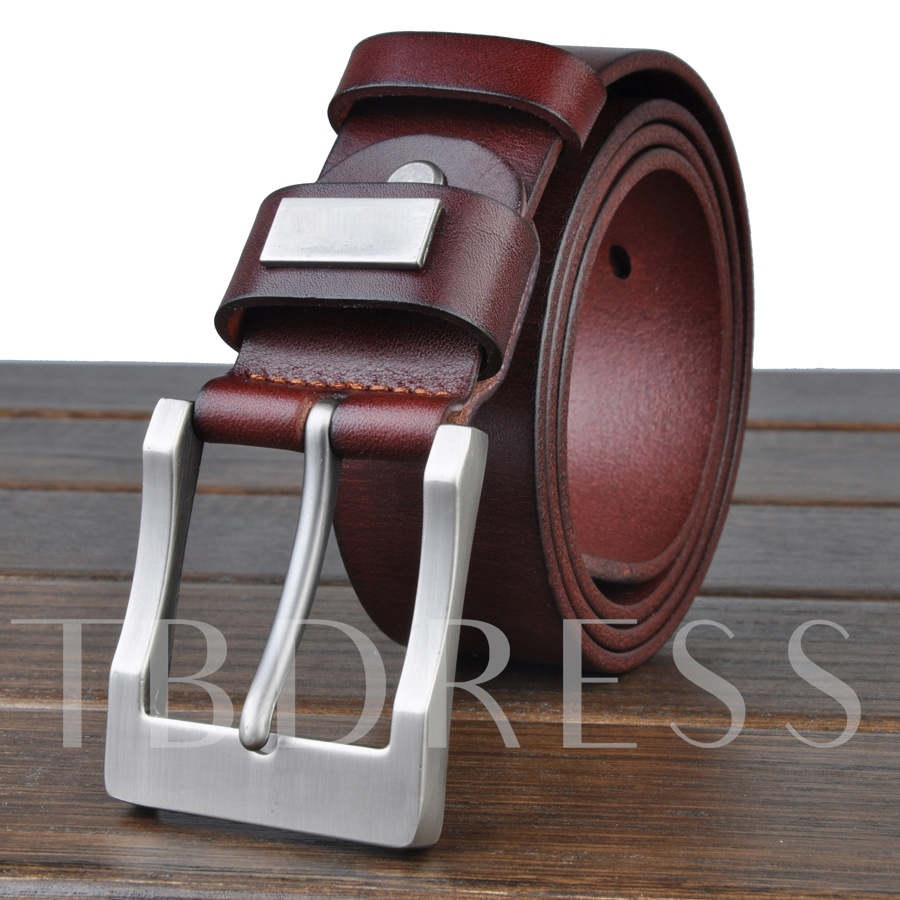 Solid Color Metal Buckle Men's Belt