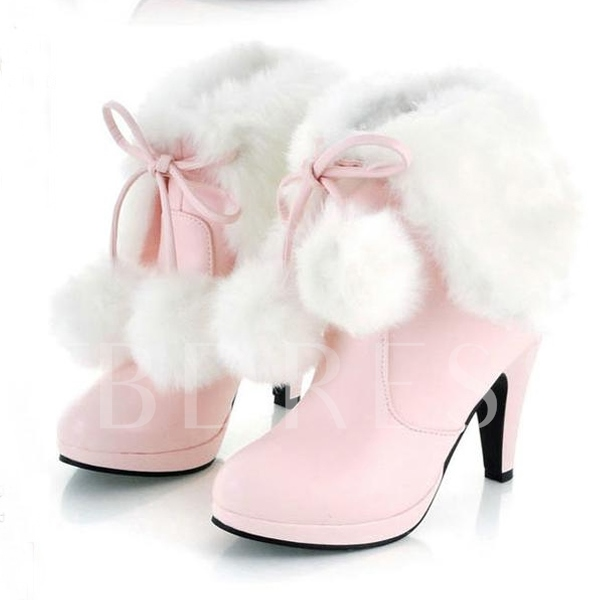 Solid Color Short Floss Stiletto Heel Women's Boots
