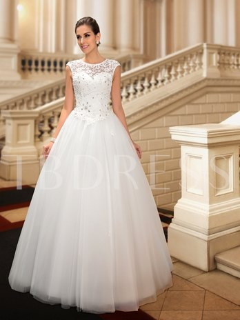 Beaded Lace Jewel Neck Floor Length Princess Wedding Dress