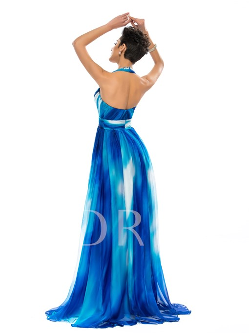 A-Line Halter V-Neck Beadings Evening Dress