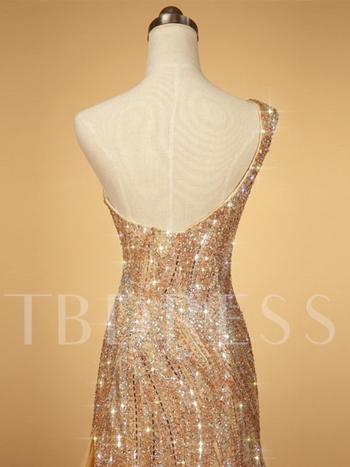 Mermaid One-Shoulder Beading Sequins Court Train Evening Dress