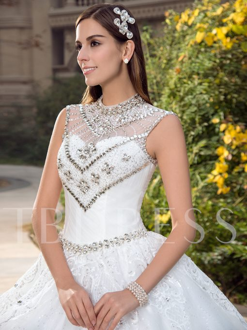 Princess High Neck Beading Appliques Court Train Wedding Dress