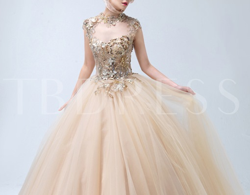 High Neck Ball Gown Appliques Floor-Length Quinceanera Dress