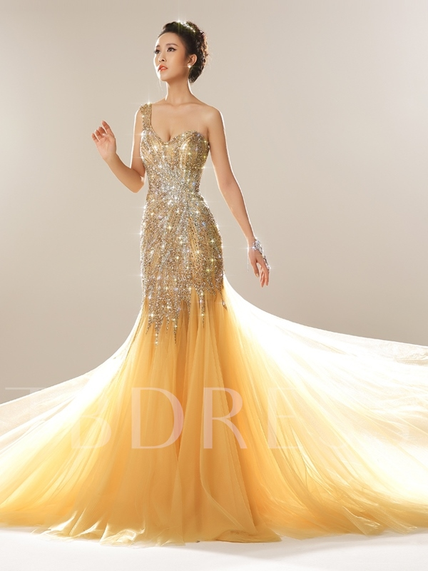 One Shoulder Beading Sequins Luxurious Evening Dress