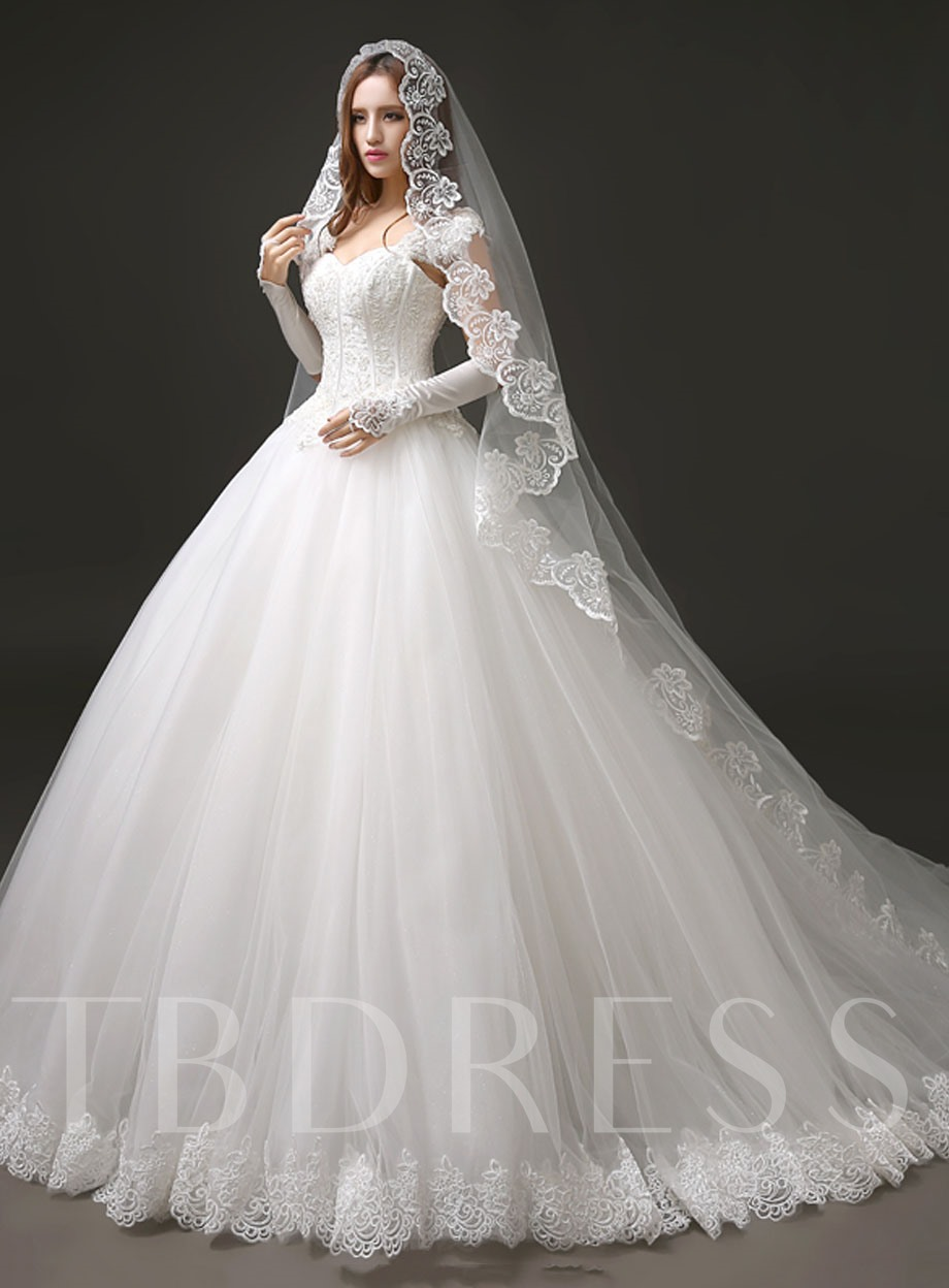 Image of Beaded Bodice Lace Ball Gown Wedding Dress