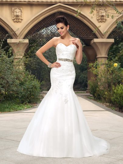 Sweetheart Beaded Lace Appliques Mermaid Wedding Dress