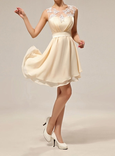 Straps Appliques Beach Bridesmaid Dress