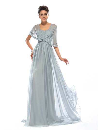 A-Line Ruffles Floor-Length Evening Dress